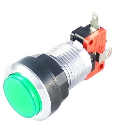 Bouton Vert Chromé à LED de...