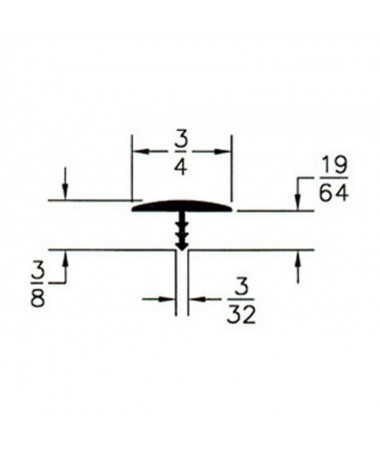 T-Profil 19 mm - verchromt 1m